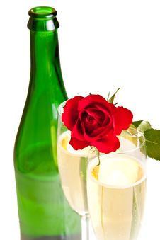 Free Valentine S Day Roses And Champagne Wine Isolated Royalty Free Stock Photo - 17727715