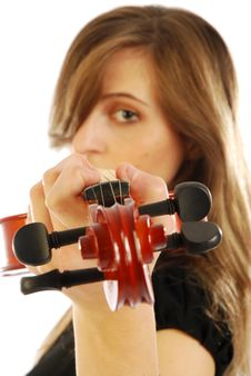 Woman With Violin 006 Royalty Free Stock Image