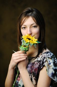 Free Woman With Sunflower Royalty Free Stock Image - 17729036