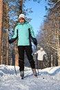 Free Man And Woman Walking On Ski Stock Photos - 17737853