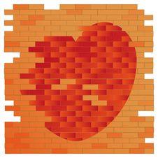 Brick Wall And Heart Stock Photos
