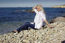 Blonde Near The Sea