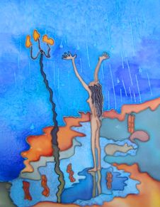 Free Girl Is Standing In The Rain. Abstract Painting. Royalty Free Stock Image - 17730586