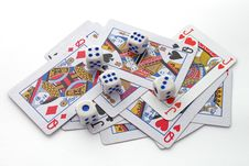 Free Gambling With Playing Cards And Dice Stock Photography - 17730822