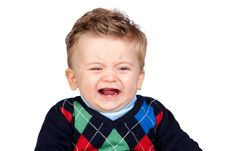 Free Sad Baby With Blue Eyes Royalty Free Stock Photography - 17730877