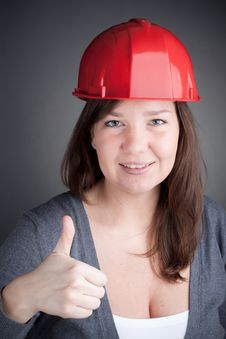 Free Young Engineer Woman With Thumb Up Royalty Free Stock Photo - 17730895