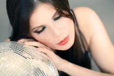 Free Portrait Of A Woman With Disco Ball Royalty Free Stock Photo - 17730945