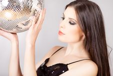Free Portrait Of A Woman With Disco Ball Royalty Free Stock Photos - 17731028