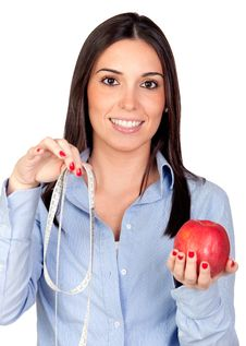 Free Beautiful Girl With A Red Apple And Tape-measure Royalty Free Stock Photo - 17731155