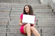 Free Young Caucasian Student Women With Laptop Stock Images - 17731324