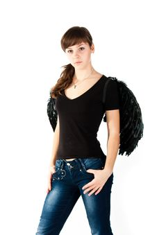 Free Beautiful Girl Standing In Black Wings Royalty Free Stock Image - 17732436