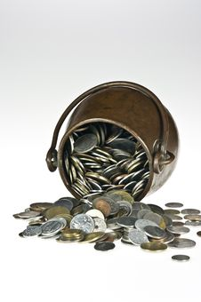 Old Pot With Coins Royalty Free Stock Photo