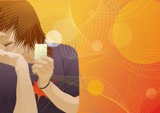 Teen Boy With A Telephone On Background Royalty Free Stock Image