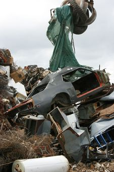 Car Recycling At The Scrap Yard Pile Royalty Free Stock Photos