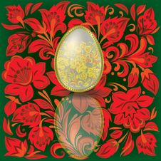 Free Gold Easter Egg On Floral  Background Royalty Free Stock Image - 17734836