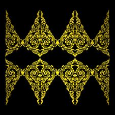 Free Ancient Gold Thailand Pattern,on Black Wall Stock Photography - 17735712