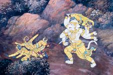 Free Art Thai Painting On Wall In Temple Royalty Free Stock Photography - 17736267