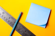 Free Blank Blue Note On Orange Background Stock Photography - 17737232