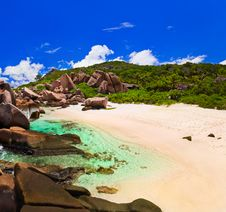 Tropical Beach At Seychelles Stock Photo