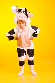 Free Little Girl In The Suit Of Cow Stock Photography - 17738072