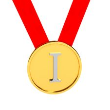 Free Gold Medal Over White Background Stock Photography - 17739132
