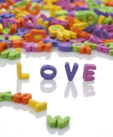 Love Written With Colored Letters Royalty Free Stock Images