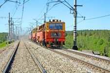 Free Red-orange Trolley Does Run On Railway Tracks Stock Photography - 17739432