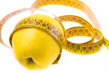 Free Yellow Apple And Ruler. Healthy Lifestyle. Stock Photography - 17739672