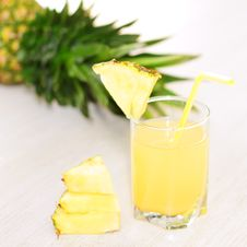 Pineapple Juice And Pineapple Stock Image