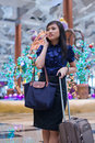 Free Asian Lady Waiting At The Meeting Point Stock Photography - 17740032