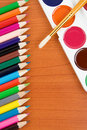 Free Painters Palette With Brush And Pencils Royalty Free Stock Photography - 17745297
