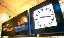 Free Scoreboard Arrival Times Of Trains And The Clock Stock Photos - 17740833