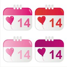 St. Valentine S Day Calendar Icons Stock Image