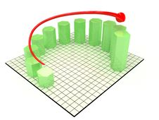 The Graph Of Growth Of The Green Hexagonal №2 Royalty Free Stock Images