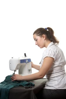 Free Seamstress Work On The Sewing-machine Royalty Free Stock Images - 17741319