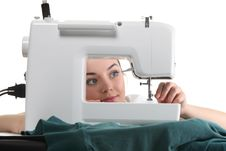 Seamstress Work On The Sewing-machine Royalty Free Stock Photos