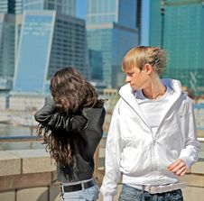 Free The Quarrel Between The Two Stylish Teenagers Royalty Free Stock Photo - 17741735