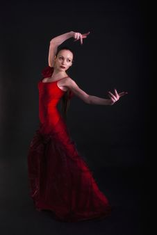 Free Flamenco Woman Dancer In Red Stock Images - 17742104