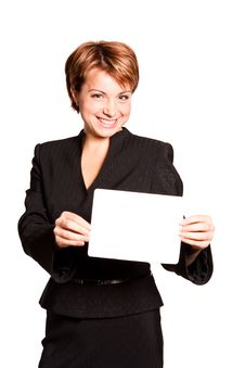 Free Beautiful Business Woman With Empty Card Stock Images - 17742254