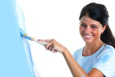 Free Woman Paint On Wall Stock Photography - 17743142