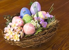 Free Easter Eggs In Nest With Flowers Stock Images - 17743554