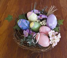 Free Easter Eggs In Nest With Vegetation Royalty Free Stock Image - 17743686