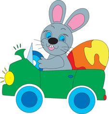Free Easter Bunny In A Car Royalty Free Stock Photos - 17744668
