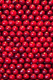 Fresh Cherries Are Stapled In Pattern Royalty Free Stock Photos