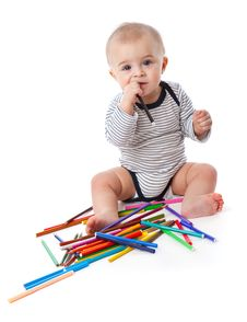 Free A Little Cute Boy With Markers And Pencils Stock Images - 17745014
