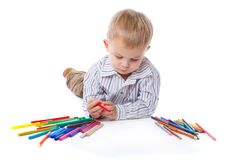 Free A Cute Boy With Markers And Pencils Stock Photography - 17745022