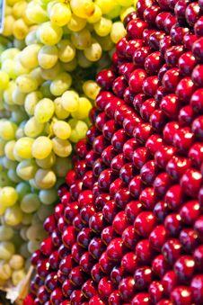 Fresh Cherries Are Stapled In Pattern Stock Photos