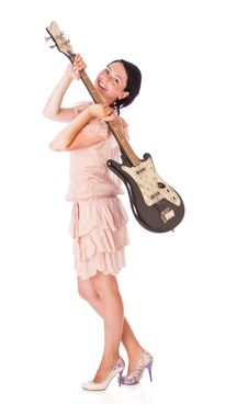 Free A Beautiful Young Woman With The Electro Guitar Royalty Free Stock Photography - 17745147
