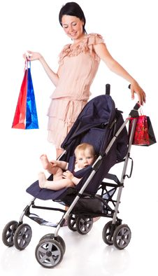 Free A Young Woman Is Standing Near A Pram Royalty Free Stock Images - 17745159
