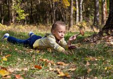 Free A Girl Is Laying On A Grass In The Forest Stock Photography - 17745212
